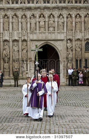 Senior Clergymen March From Exeter Cathedral During The Rememberance Day
