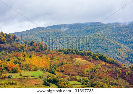 Beautiful Countryside On A Rainy Day In Mountains. Forested Hills In Fall Foliage. Overcast Sky Abov