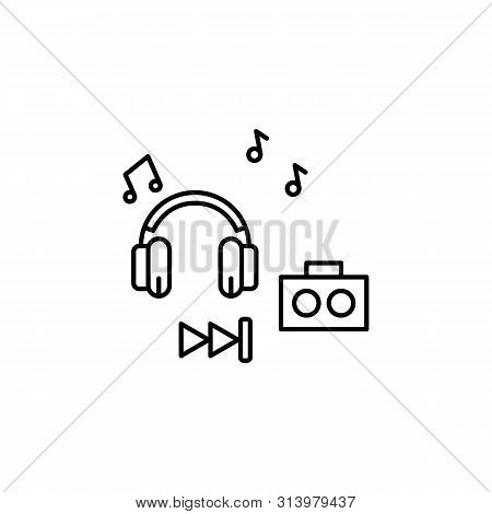 Music Play Sound Line Icon. Element Of Lifestyle Icon