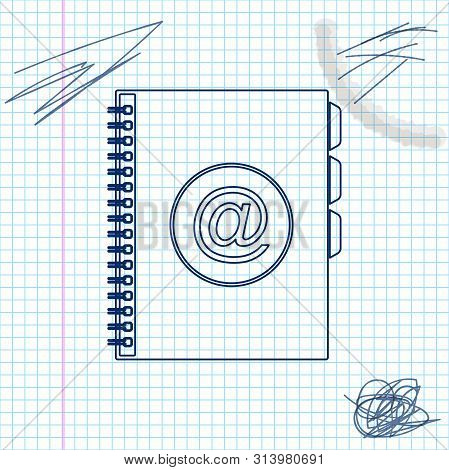 Address book line sketch icon isolated on white background. Notebook, address, contact, directory, phone, telephone book icon. Vector Illustration poster