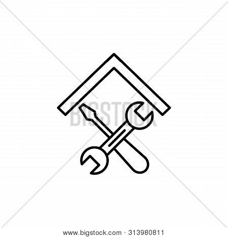 Repair Hammer Wrench Line Icon. Element Of Lifestyle Icon