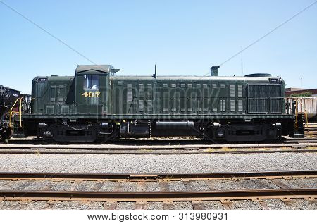 Reading Railroad RDG 467 is a Alco RS3 diesel locomotive in Steamtown National Historic Site in Scranton, Pennsylvania, USA.