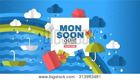 Sale Poster Of Monsoon Season. Creative Sale Banner With Colorful Cloud, Umbrella, Gift Box And Pack