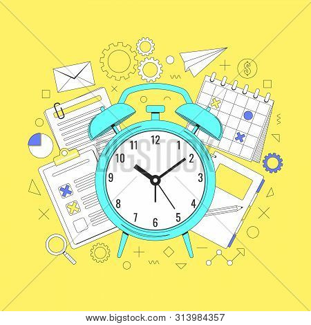 Time Management Concept Illustration, Organization, Working Time. Landing Page Template. Easy To Rep