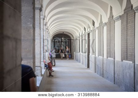 Lyon, France - July 19, 2019: Interior Cloister (cloitre) Of The Hotel Dieu In Lyon, Newly Renovated