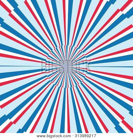 Blue, Red And White Stripes Sunrays Background. Sunrays Red And Blue Color Vector Eps10 Background.