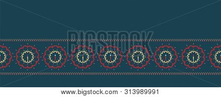 Hand Drawn Christmas Candle Wreath Border Pattern. Stylized Snowflake Circle Background. Winter Holi