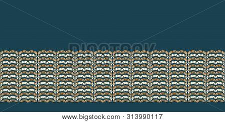 Hand Drawn Folk Art Christmas Stripes Border Pattern. Small Curved Gold Stripes Waves On Green Backg