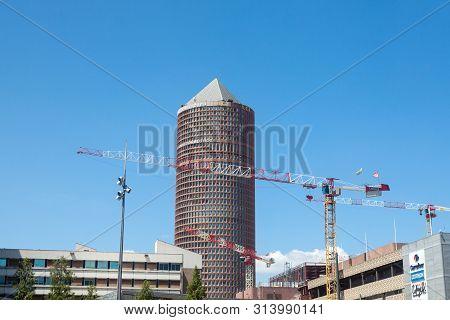 Lyon, France - July 13, 2019: Tour Part Dieu, Also Called Le Crayon Or Credit Lyonnais Tower, With C