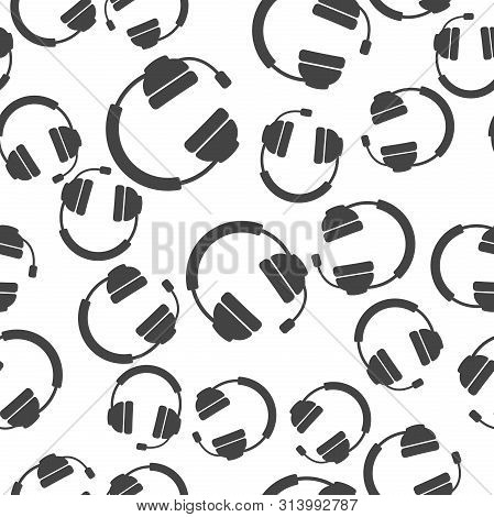 Headphones Vector Icon. Flat Headphones Seamless Pattern On A White Background.