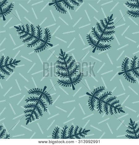 Hand Drawn Stylized Christmas Tree Pattern. Geometric Abstract Fir Forest On Green Background. Cute