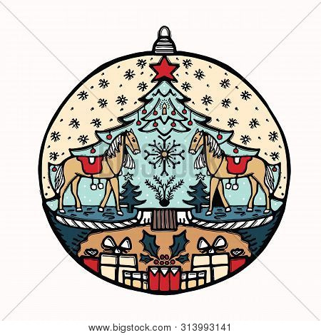 Hand Drawn Christmas Bauble Ornament Motif. Isolated Festive Ball Deco Design Element. Cute Winter H