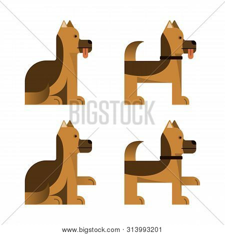 Set Of Flat Icons With Sheepdog. Pedigree Dog. Sitting And Standing. Vector Illustration.