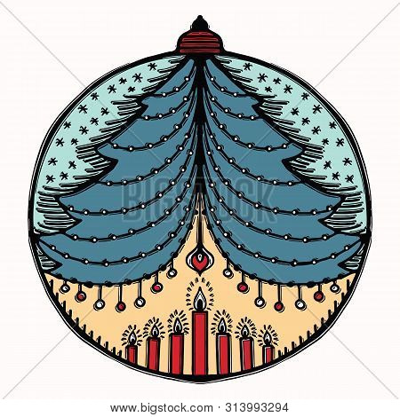 Hand Drawn Christmas Bauble Ornament Motif. Isolated Festive Ball Tree Design Element. Cute Winter H