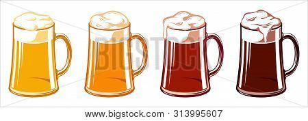 Types Of Beer For Oktoberfest In Tankard Beer Glass Mugs. Light, Wheat, Lager, Ale, Cold, Red, Pale,