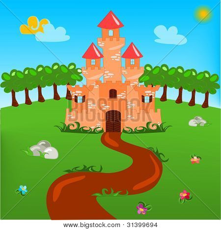 Cartoon illustration of castle