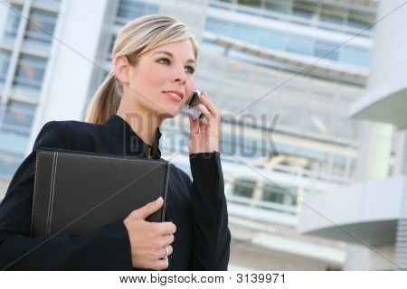 Pretty Blonde Business Woman On Phone
