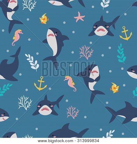 Seamless Pattern With Cute Sharks, Seahorses, Fish And Sea Plants. Vector Illustration For Fabric, T