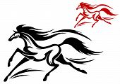 Fast running horse in vector for tattoo or mascot design poster