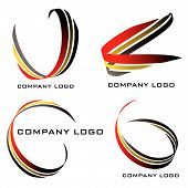 Set of four company logos in red gold and black poster