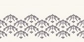 Nouveau ornamental flower motif border. Jugendstil style ribbon trim. Retro floral damask textile tape. Decorative arts crafts folksy home decor. Modernist trendy monochrome. Vector seamless edge poster