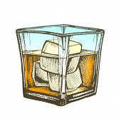 Elegance Glass With Brandy And Ice Cubes . Design Decorative Glass With Frappe Strong Booze Spirit Produced By Distilling Wine. Chilled Classic Alcoholic Drink Color Illustration poster