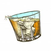 Design Glass With Whisky And Ice Cubes . Hand Drawn Glass With Cold Irish Booze Distilled And Aging In Wooden Barrel. Mug Alcoholic Drink And Splash Template Color Illustration poster