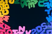 Colorful Letters of Alphabet made of wood poster