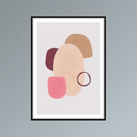 Abstract Stains Sketch Poster In Shades Of Pink For Interior Decor.