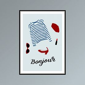 Poster With Beret, Striped Longlsleeve Shirt, Lipstick, Shoe And Hand Lettered Word Bonjour, Good Da