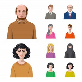 Isolated Object Of Avatar And Face Symbol. Set Of Avatar And Profile Stock Symbol For Web.