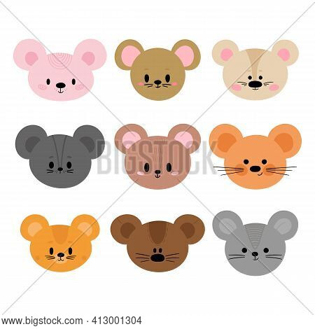 Adorable Mouses. Set Of Cute Cartoon Animals Portraits. Fits For Designing Baby Clothes. Hand Drawn