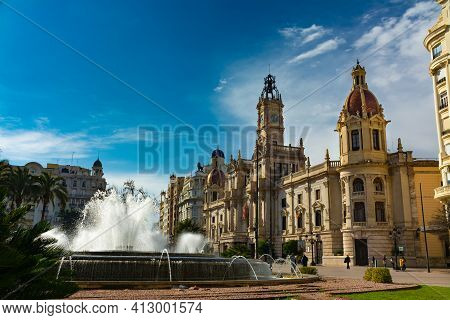 Valencia, Spain. February, 24, 2021 - City Hall Building In The Town Hall Square, With The Large Fou