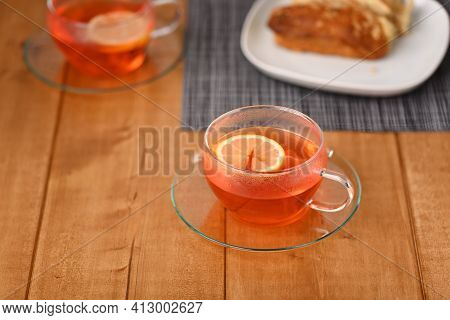 Fruit Hot Tea In A Glass Cup, Close Up.