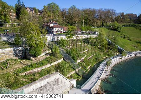 Bern, Switzerland - April 13, 2017: The Bear Park Next To The River Aar.