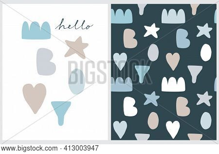 Hello Boy. Cute Baby Shower Vector Illustration And Seamless Vector Pattern. Hand Drawn Print Ideal
