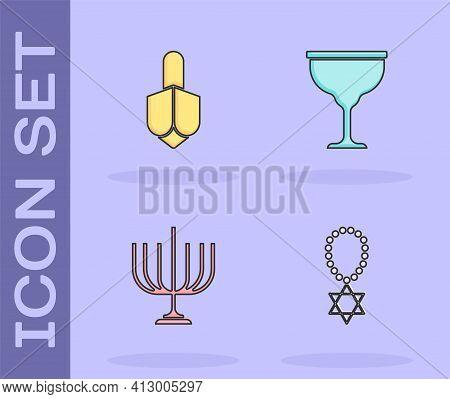 Set Star Of David Necklace On Chain, Hanukkah Dreidel, Menorah And Jewish Goblet Icon. Vector