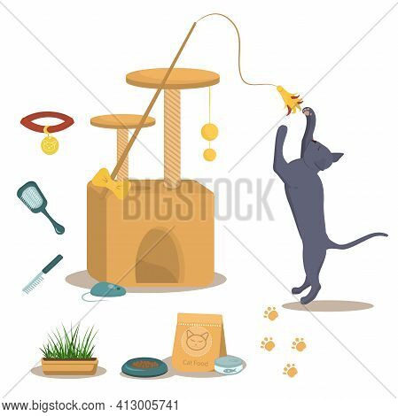 Vector Illustration On The Theme Of Domestic Cats. A British Grey Cat In A Jump Along With A Cat Hou