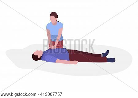 First Aid. The Girl Makes A Man Who Fell In The Street Cardiopulmonary Resuscitation. Isolated  Illu