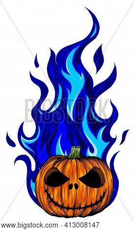 Vector Illustration Of Fiery Face Pumpink Art