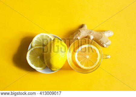 Medicinal Tea In A Cup, Ginger, Lemon-strengthen The Immune System In The Cold Season. Vitamin Drink