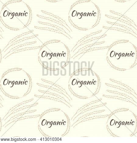 Seamless Pattern With Spikelets In A Circle. Spikelets Of Cereals, Solid Repeating Pattern With The