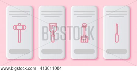 Set Line Sledgehammer, Putty Knife, Snow Shovel And Screwdriver. White Rectangle Button. Vector