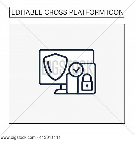 Cross Platform Security Line Icon. Protection Operation System In Multiple Devices. Safe Computer Da