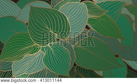 Emerald Green And Copper Metallic Leaves Hand Drawn Background Vector. Luxury Art Deco Wallpaper Des