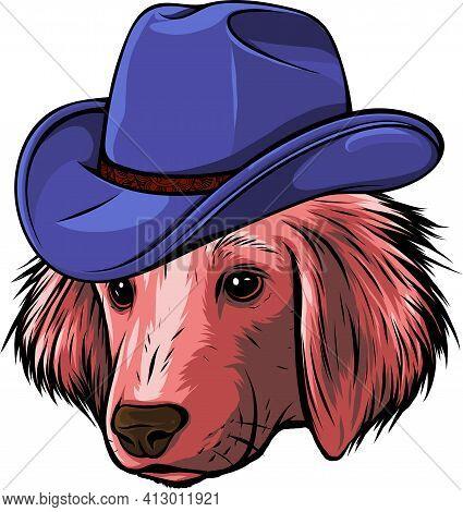 Gangster Puppy Dog With Elegant Hat Vector Illustration