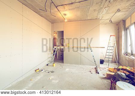 Working Process Of Installing Metal Frames For Plasterboard -drywall - For Making Gypsum Walls In Ap