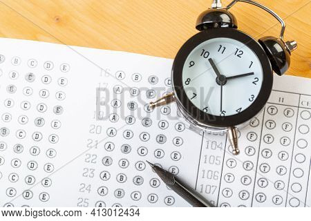 Alarm Clock, Optical Form Of Standardized School Test With Bubble And Black Pencil, Answer Sheet, Ed