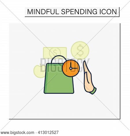 Pause Color Icon. Pause Before Purchasing. Hand Stops Shopping. Waiting Before Shopping. Thoughtful
