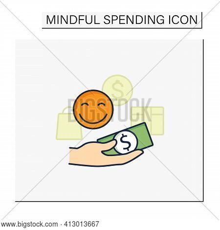 Designate Guilt-free Spending Money Color Icon. Hand Holds Money. Happy Emoji. Thoughtful Spending M